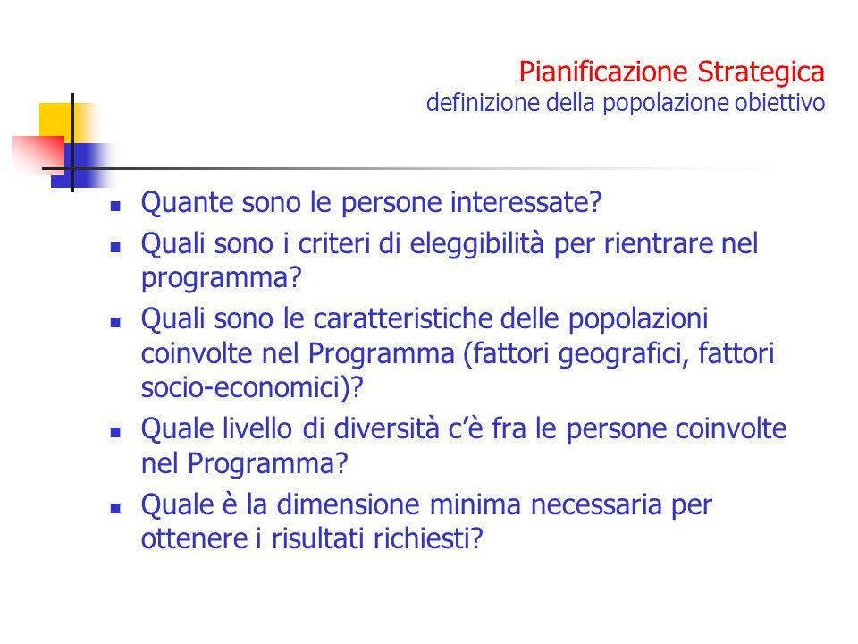 Pianificazione Strategica definizione della popolazione obiettivo