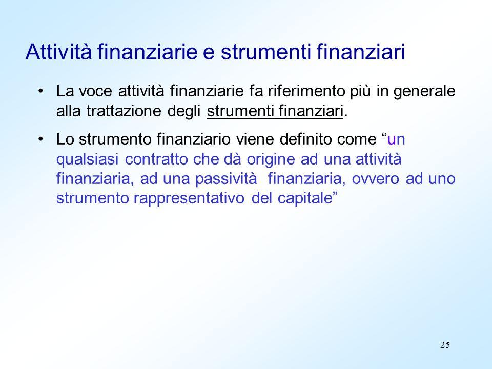 Attività finanziarie e strumenti finanziari