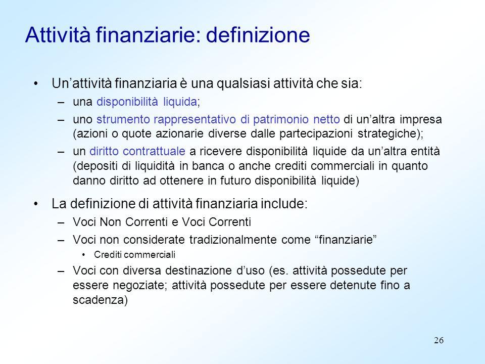Attività finanziarie: definizione