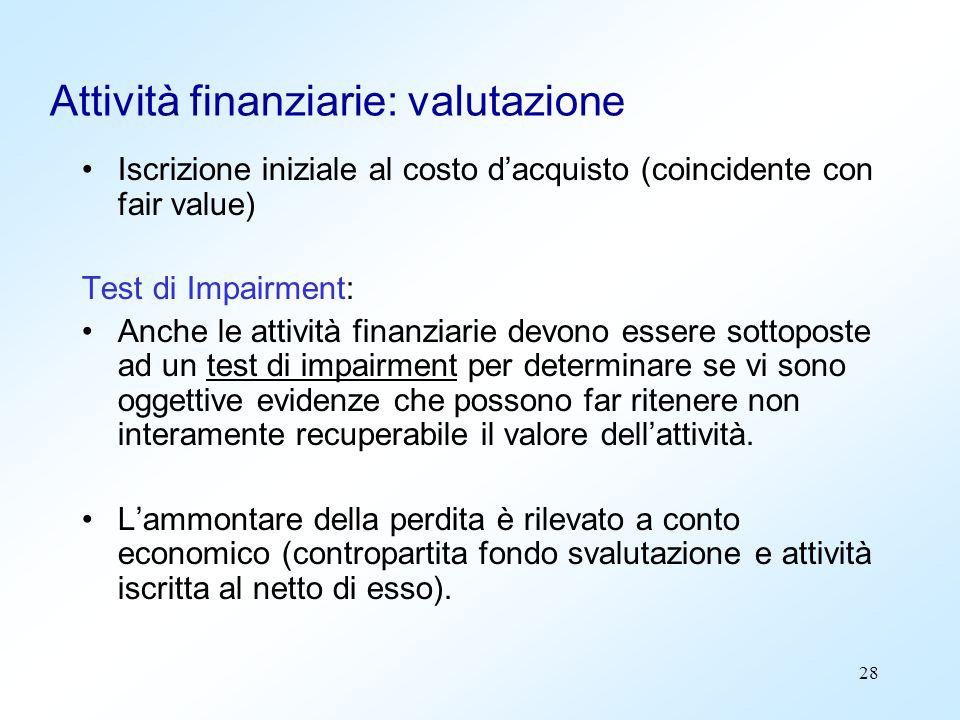 Attività finanziarie: valutazione