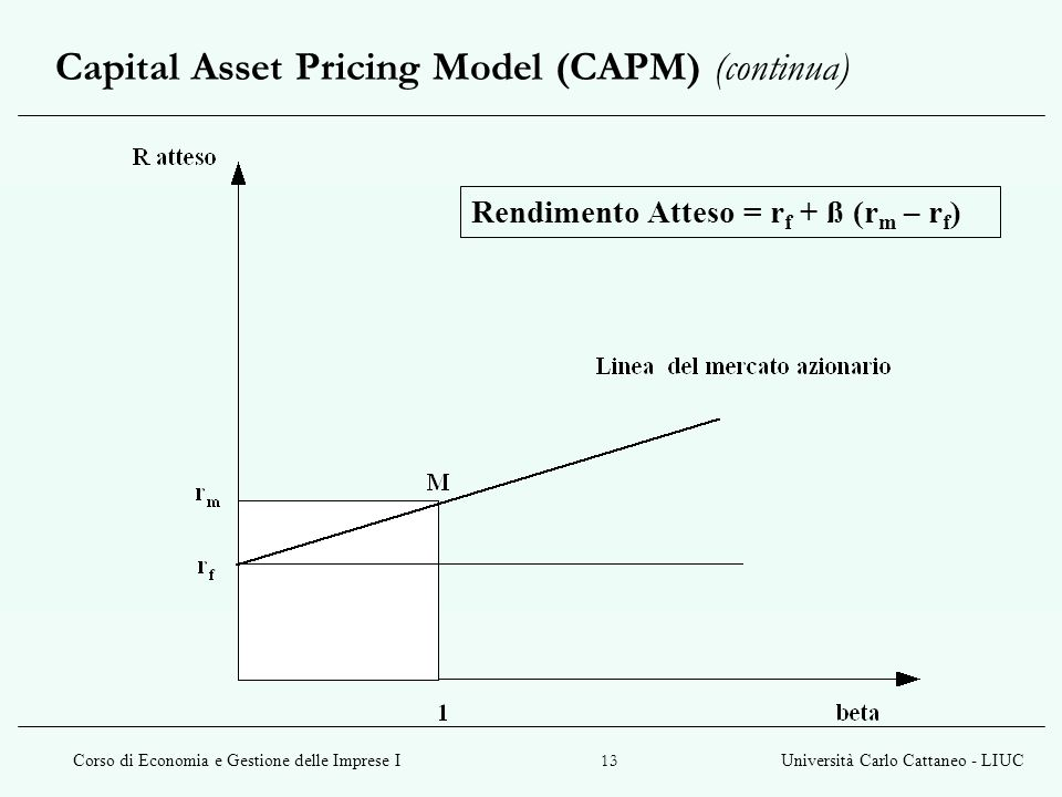 Capital Asset Pricing Model (CAPM) (continua)