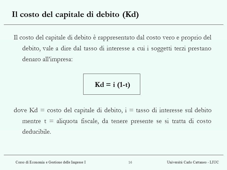 Il costo del capitale di debito (Kd)