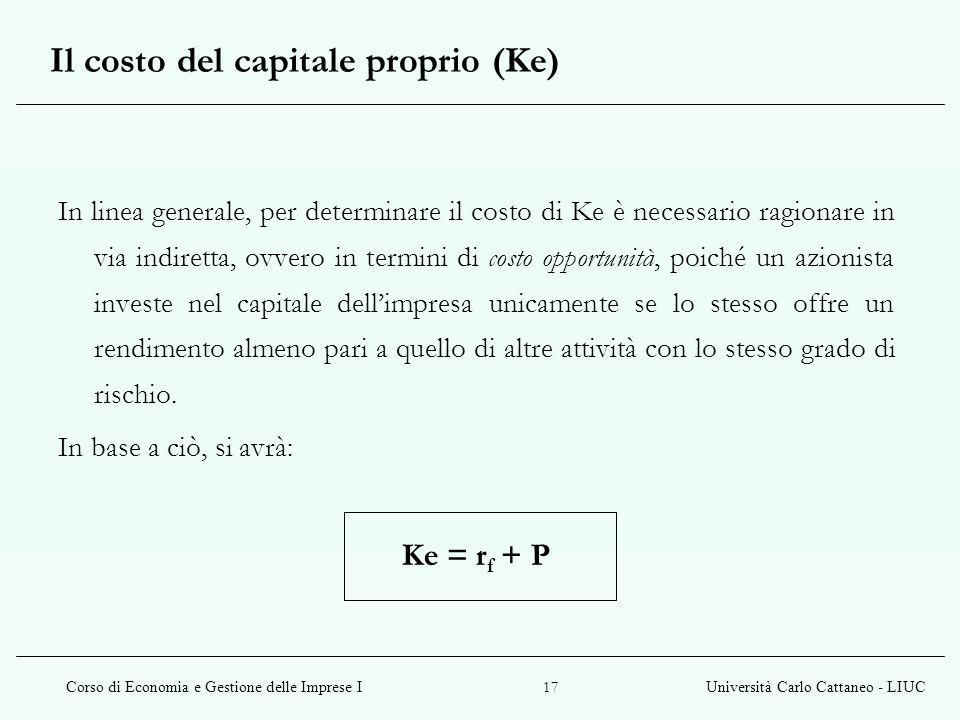 Il costo del capitale proprio (Ke)