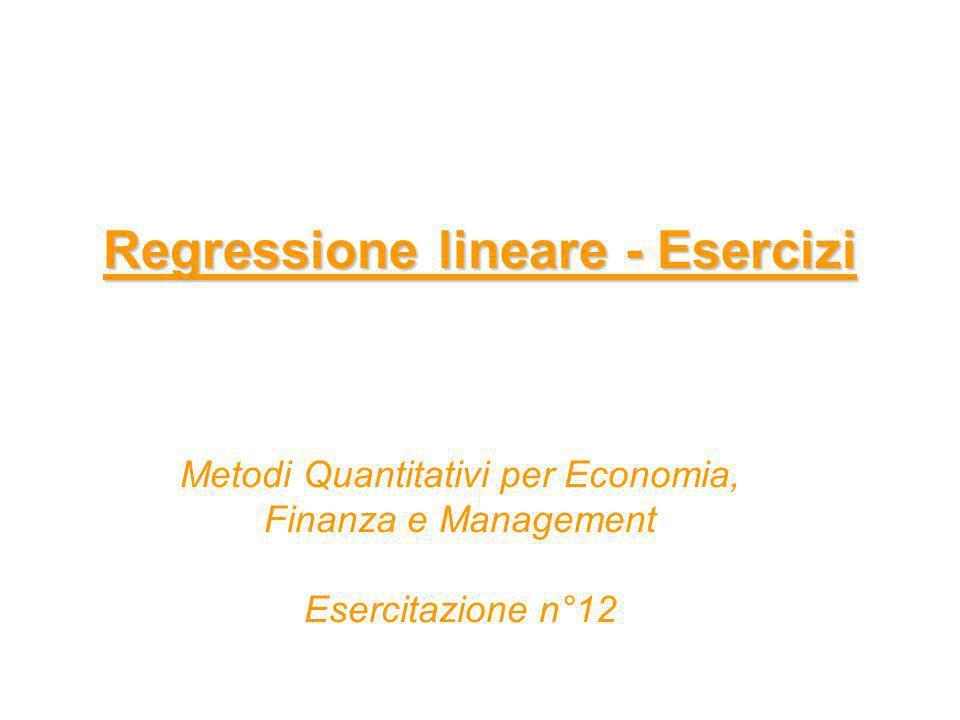 Regressione lineare - Esercizi