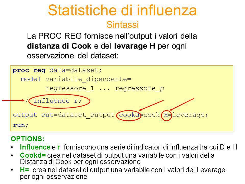 Statistiche di influenza