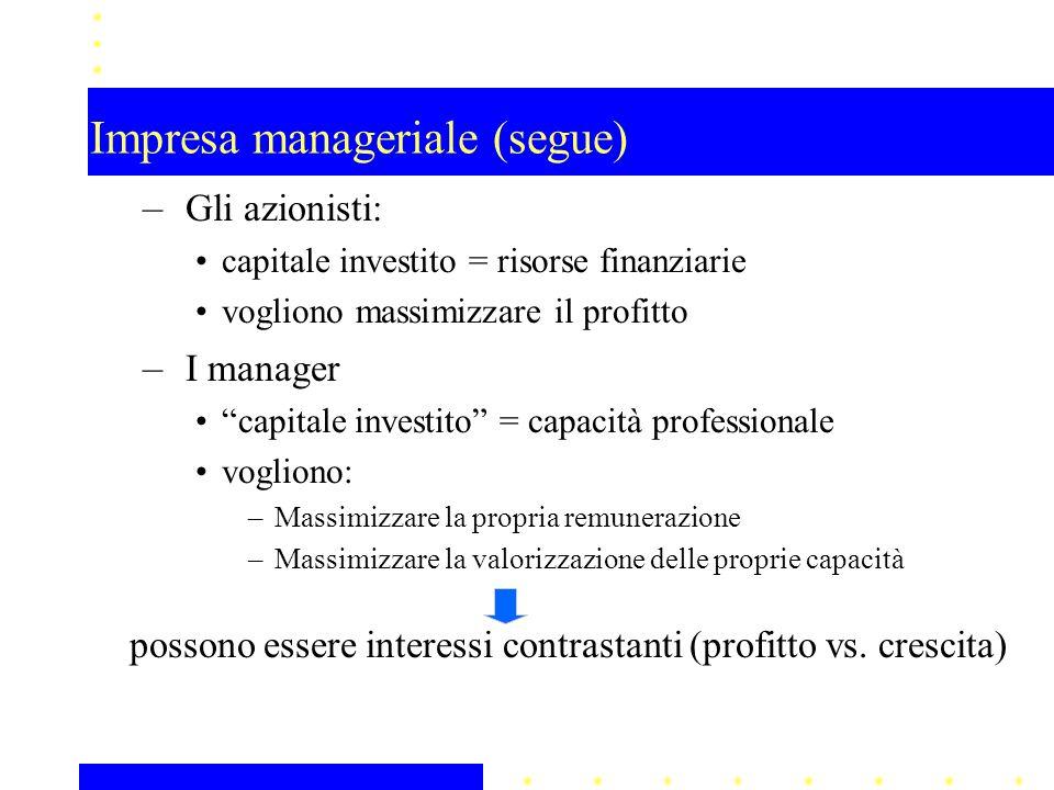 Impresa manageriale (segue)