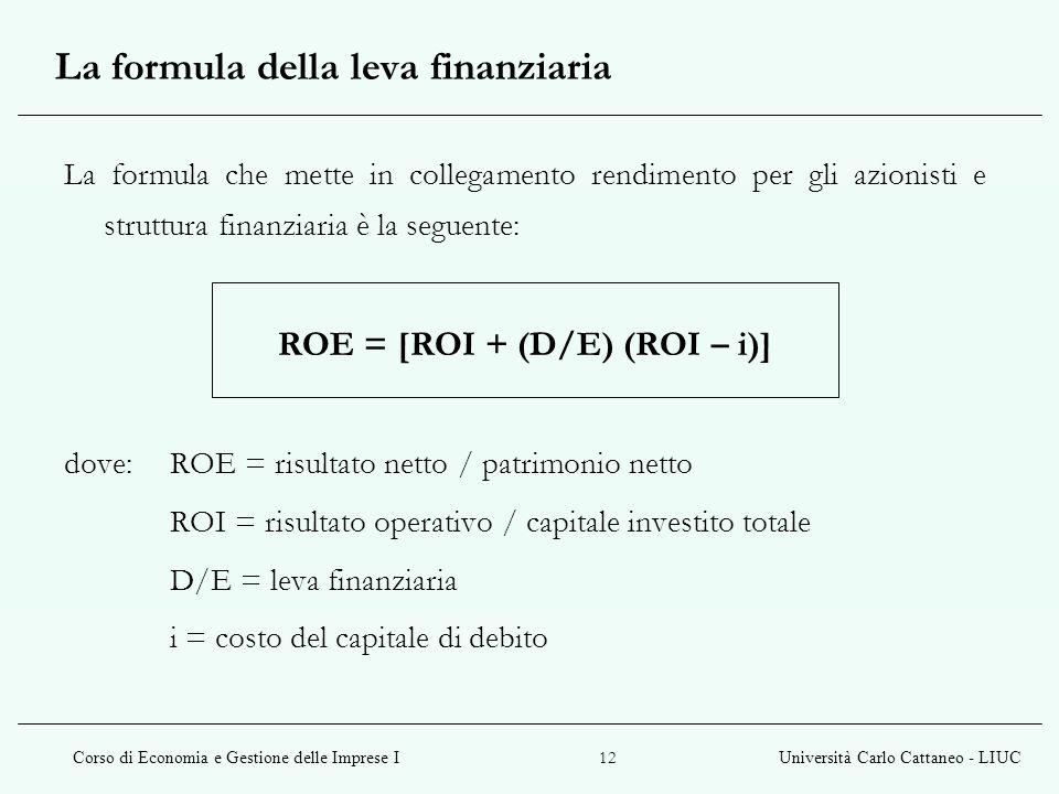 La formula della leva finanziaria