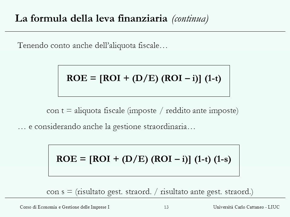 La formula della leva finanziaria (continua)