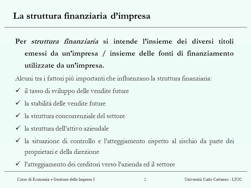 La struttura finanziaria d'impresa