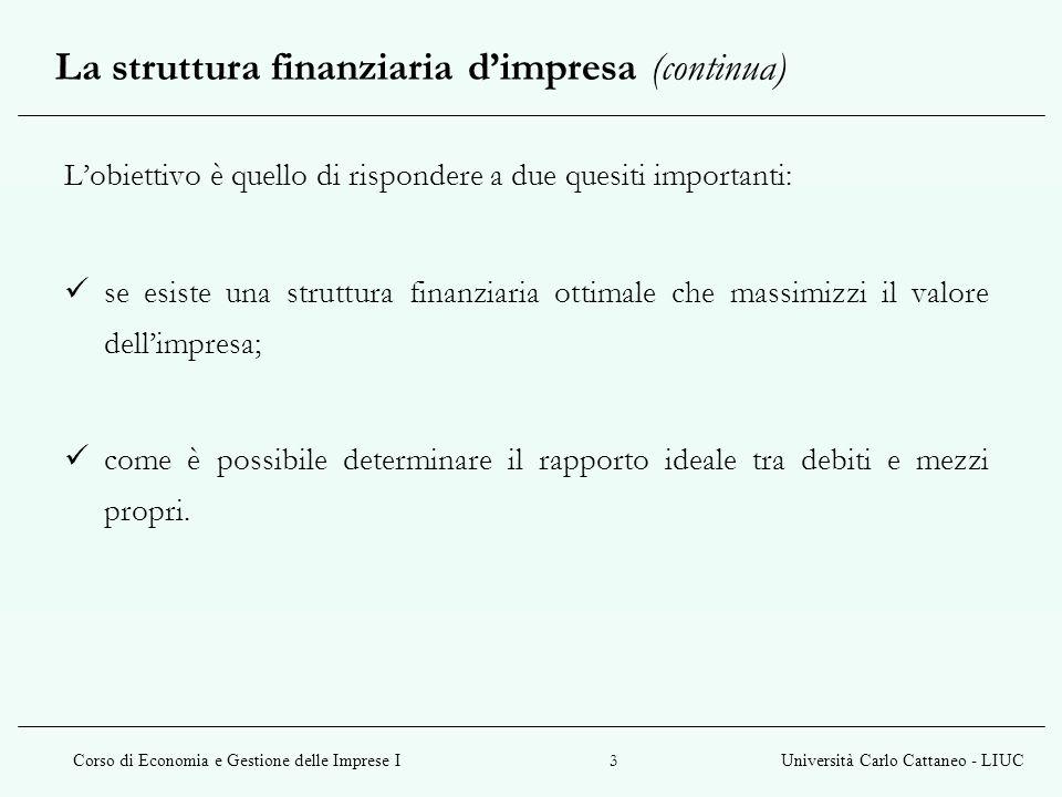 La struttura finanziaria d'impresa (continua)