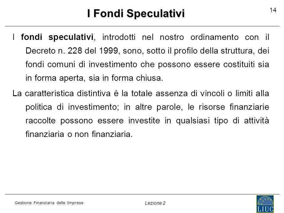 I Fondi Speculativi 14.
