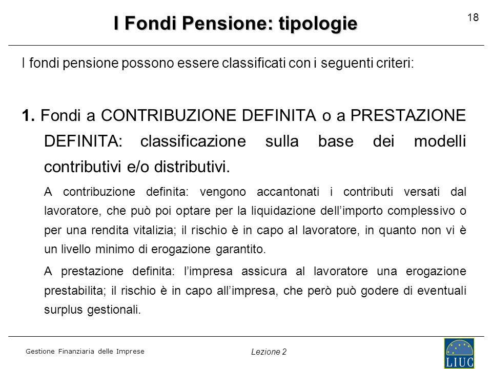 I Fondi Pensione: tipologie