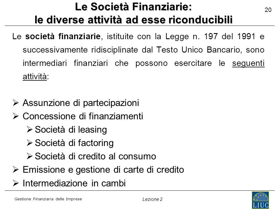 Le Società Finanziarie: le diverse attività ad esse riconducibili