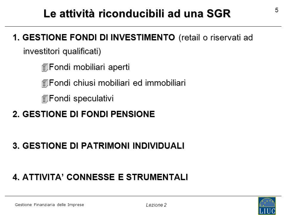 Le attività riconducibili ad una SGR