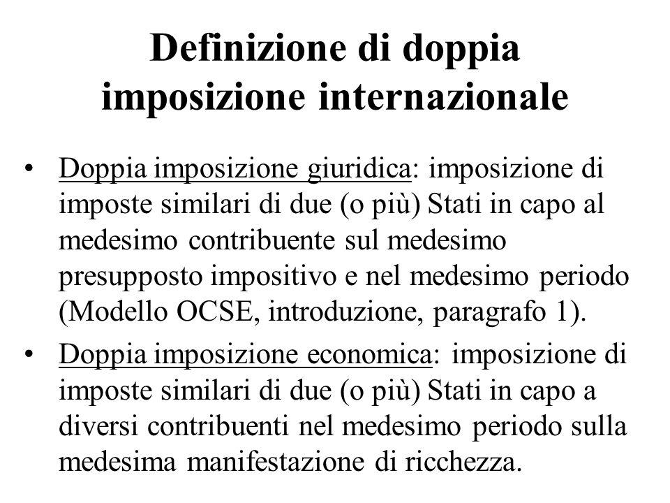 Definizione di doppia imposizione internazionale