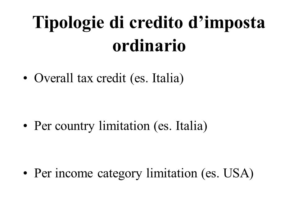 Tipologie di credito d'imposta ordinario