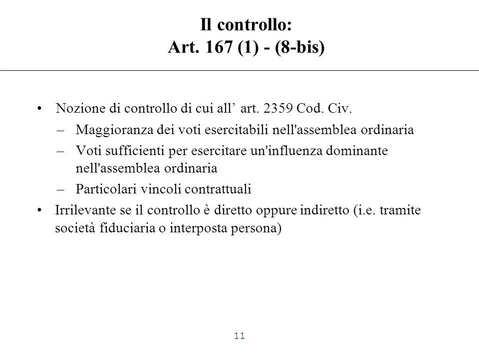 Il controllo: Art. 167 (1) - (8-bis)