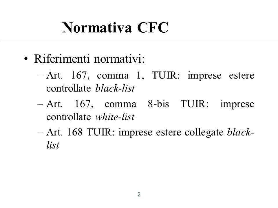 Normativa CFC Riferimenti normativi: