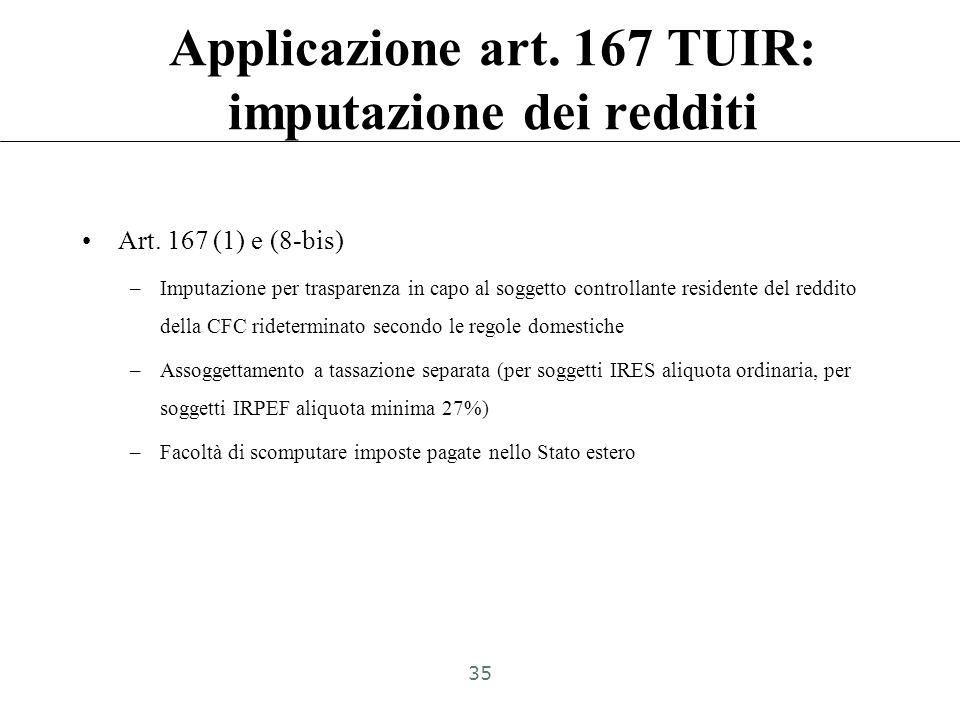 Applicazione art. 167 TUIR: imputazione dei redditi