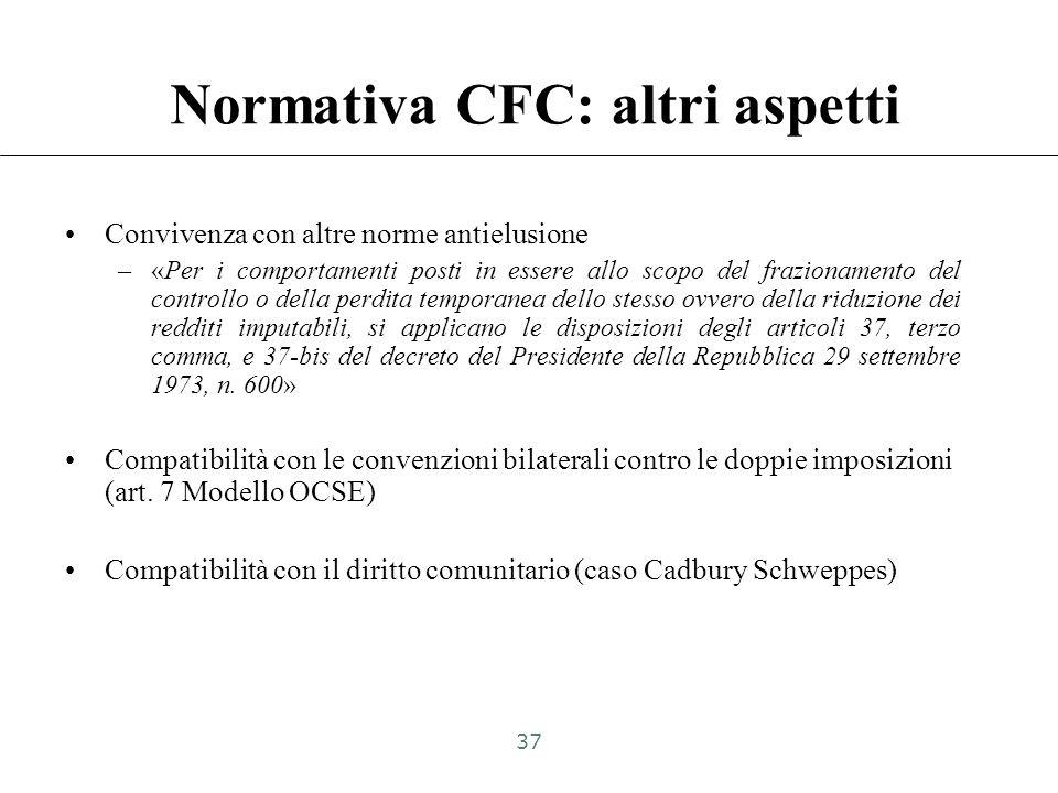 Normativa CFC: altri aspetti