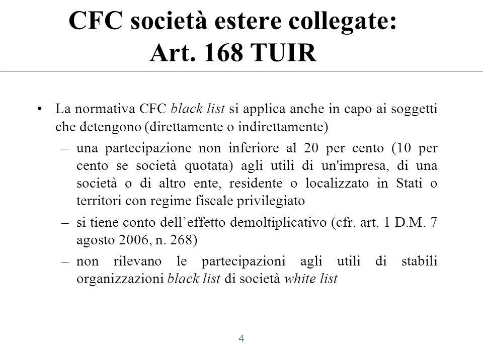 CFC società estere collegate: Art. 168 TUIR