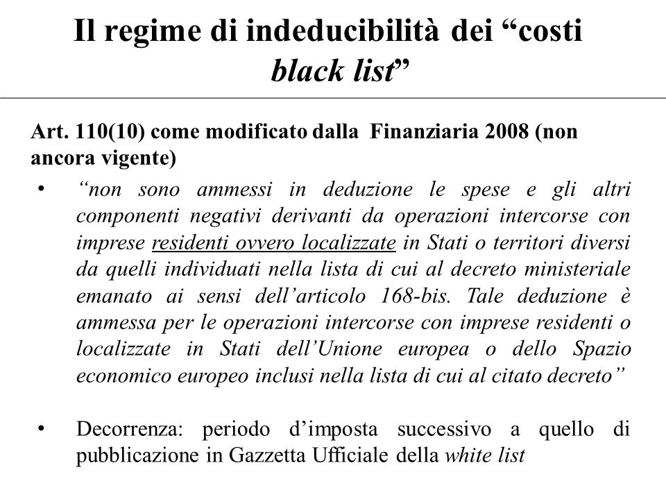 Il regime di indeducibilità dei costi black list