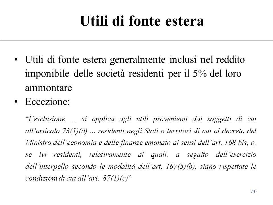 Utili di fonte estera Utili di fonte estera generalmente inclusi nel reddito imponibile delle società residenti per il 5% del loro ammontare.