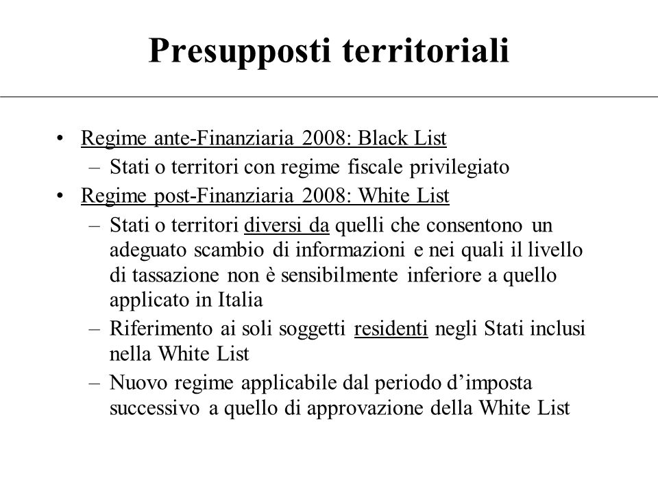 Presupposti territoriali