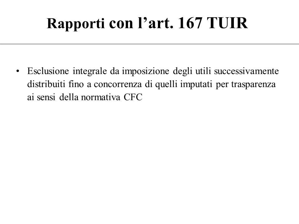 Rapporti con l'art. 167 TUIR