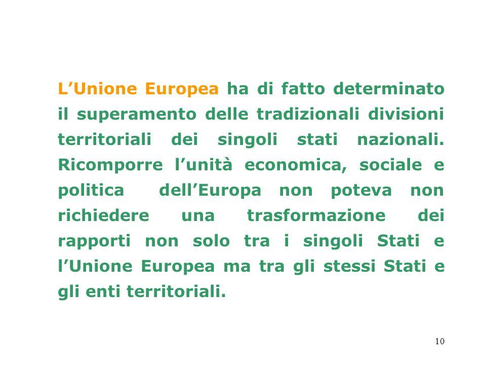 L'Unione Europea ha di fatto determinato il superamento delle tradizionali divisioni territoriali dei singoli stati nazionali.