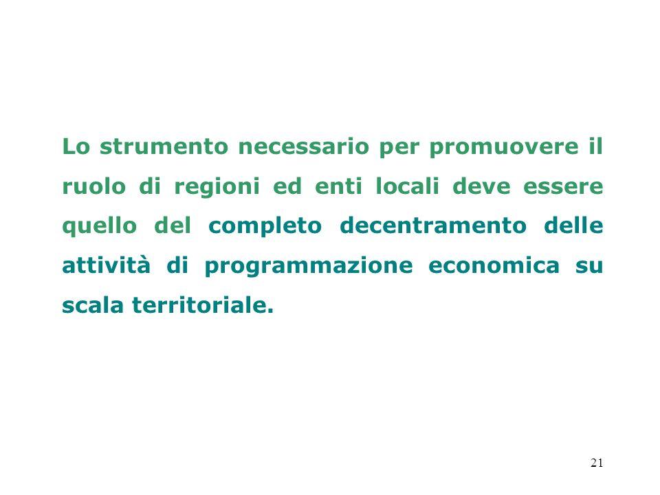Lo strumento necessario per promuovere il ruolo di regioni ed enti locali deve essere quello del completo decentramento delle attività di programmazione economica su scala territoriale.