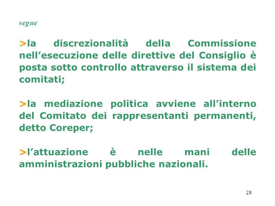 segue >la discrezionalità della Commissione nell'esecuzione delle direttive del Consiglio è posta sotto controllo attraverso il sistema dei comitati;