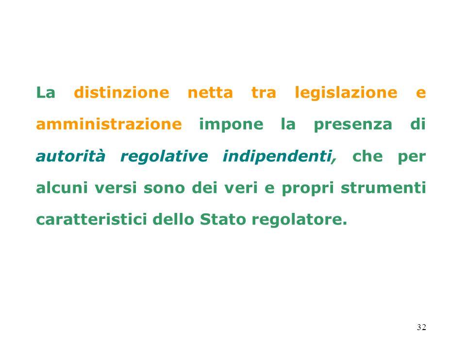 La distinzione netta tra legislazione e amministrazione impone la presenza di autorità regolative indipendenti, che per alcuni versi sono dei veri e propri strumenti caratteristici dello Stato regolatore.