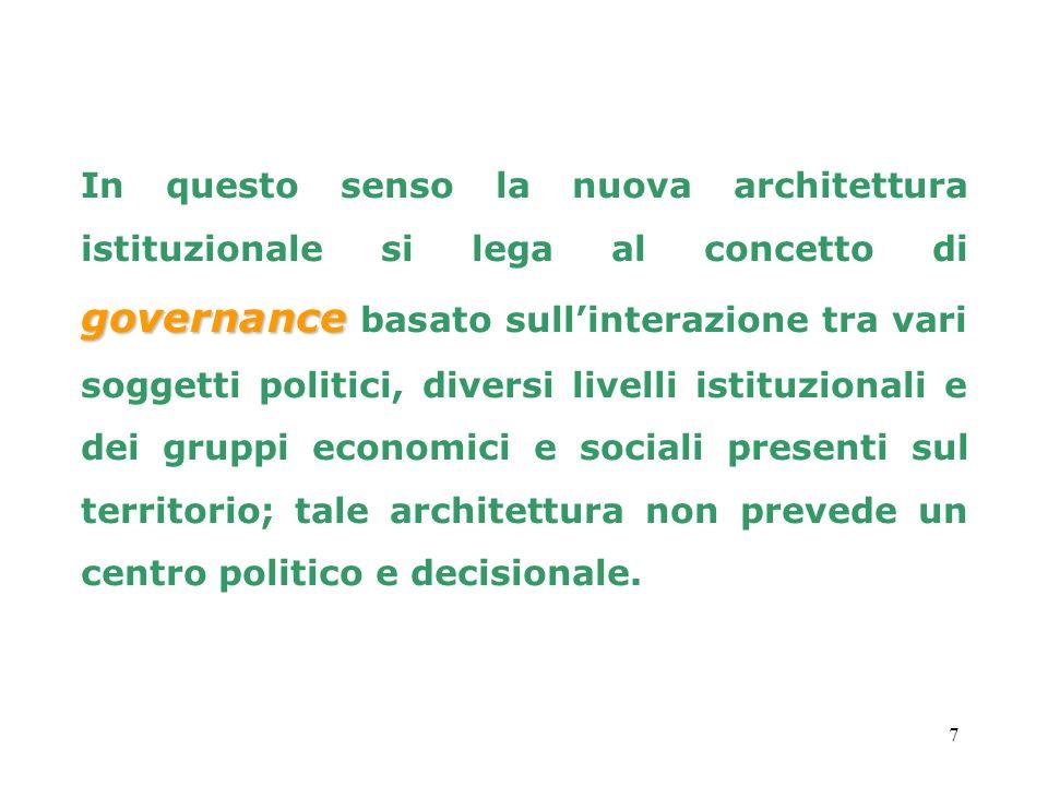 In questo senso la nuova architettura istituzionale si lega al concetto di governance basato sull'interazione tra vari soggetti politici, diversi livelli istituzionali e dei gruppi economici e sociali presenti sul territorio; tale architettura non prevede un centro politico e decisionale.