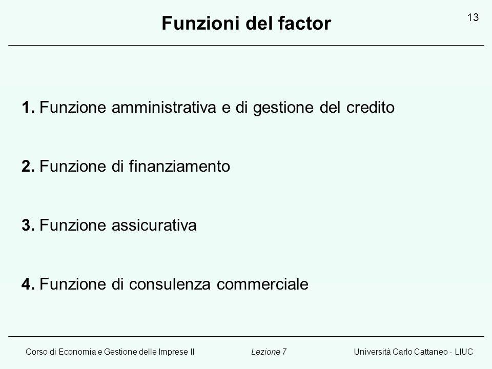 Funzioni del factor 1. Funzione amministrativa e di gestione del credito. 2. Funzione di finanziamento.