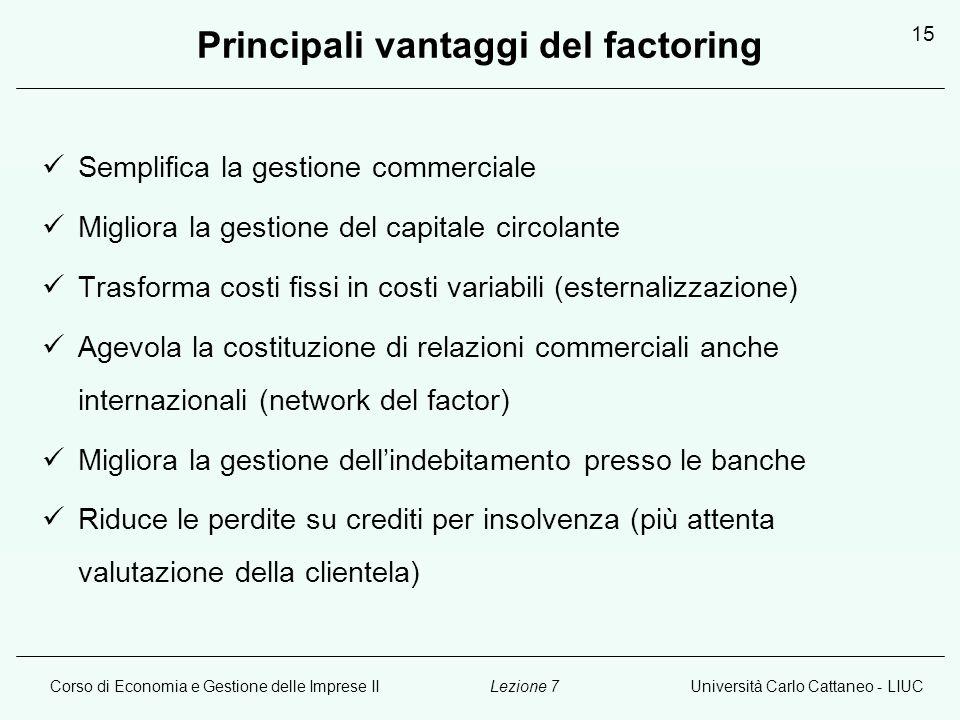 Principali vantaggi del factoring