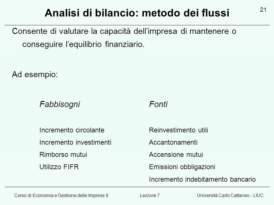 Analisi di bilancio: metodo dei flussi