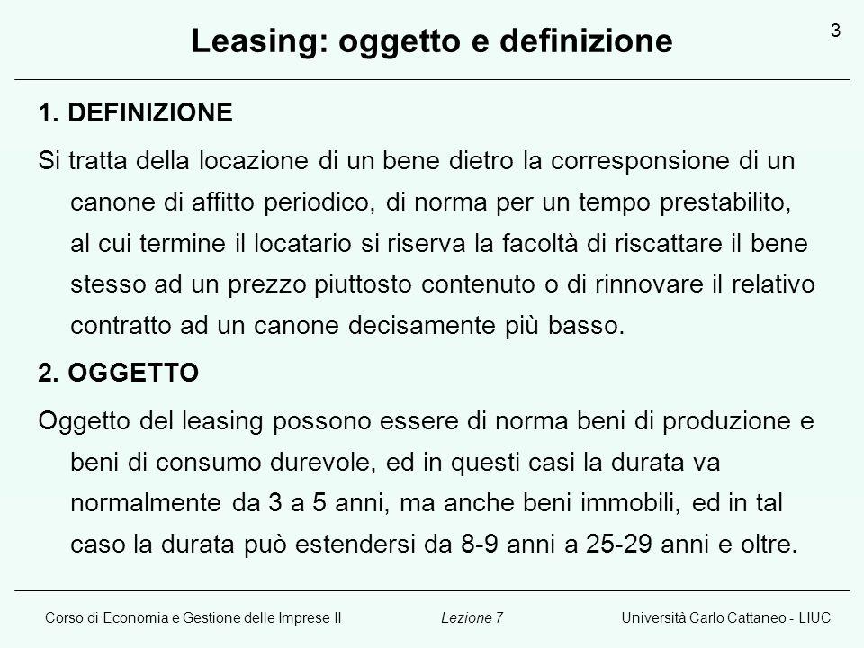 Leasing: oggetto e definizione