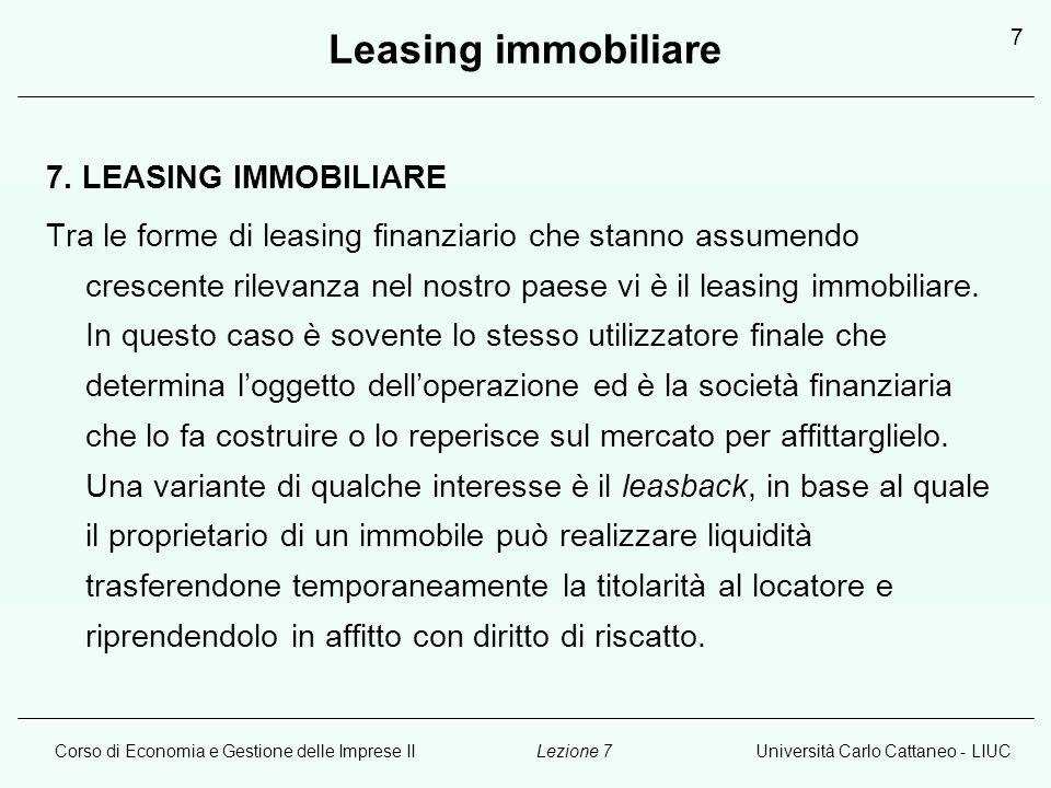 Leasing immobiliare 7. LEASING IMMOBILIARE