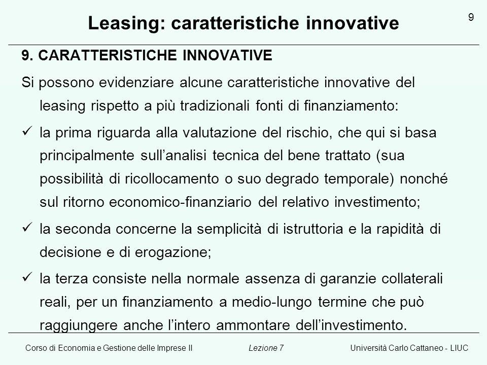 Leasing: caratteristiche innovative