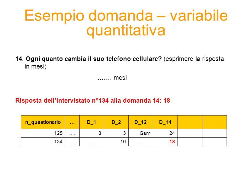 Esempio domanda – variabile quantitativa