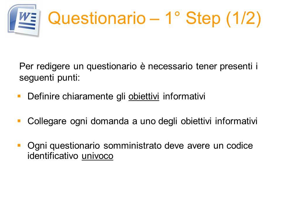 Questionario – 1° Step (1/2)