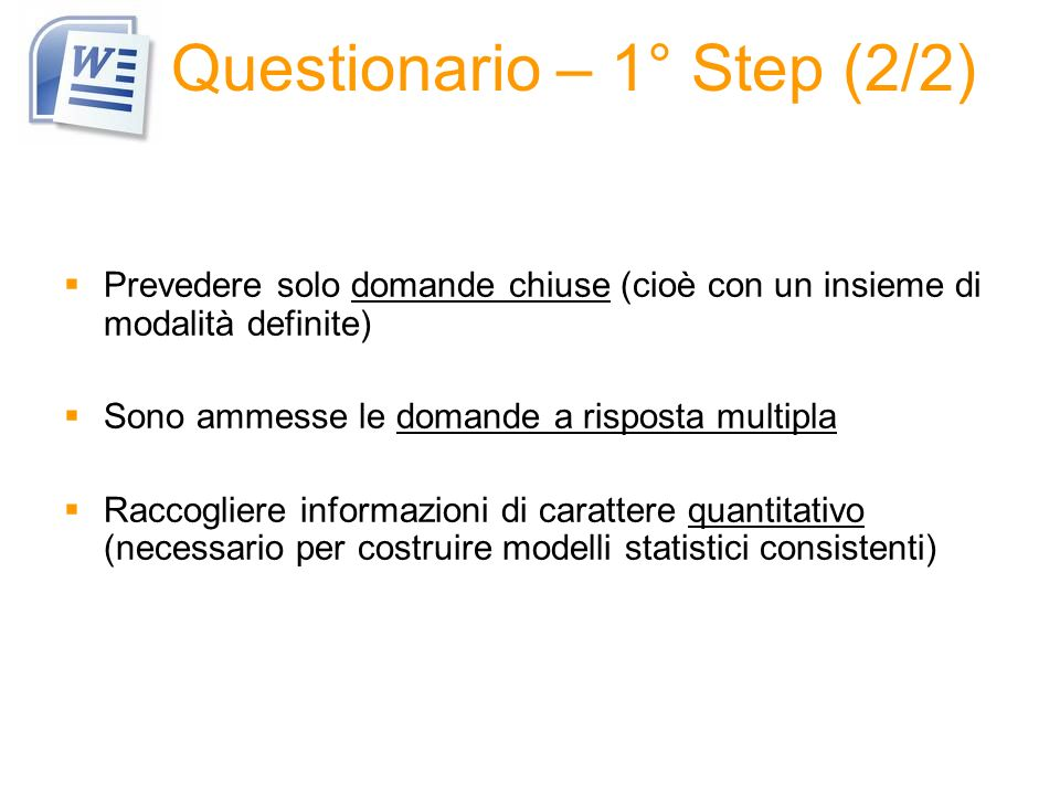 Questionario – 1° Step (2/2)