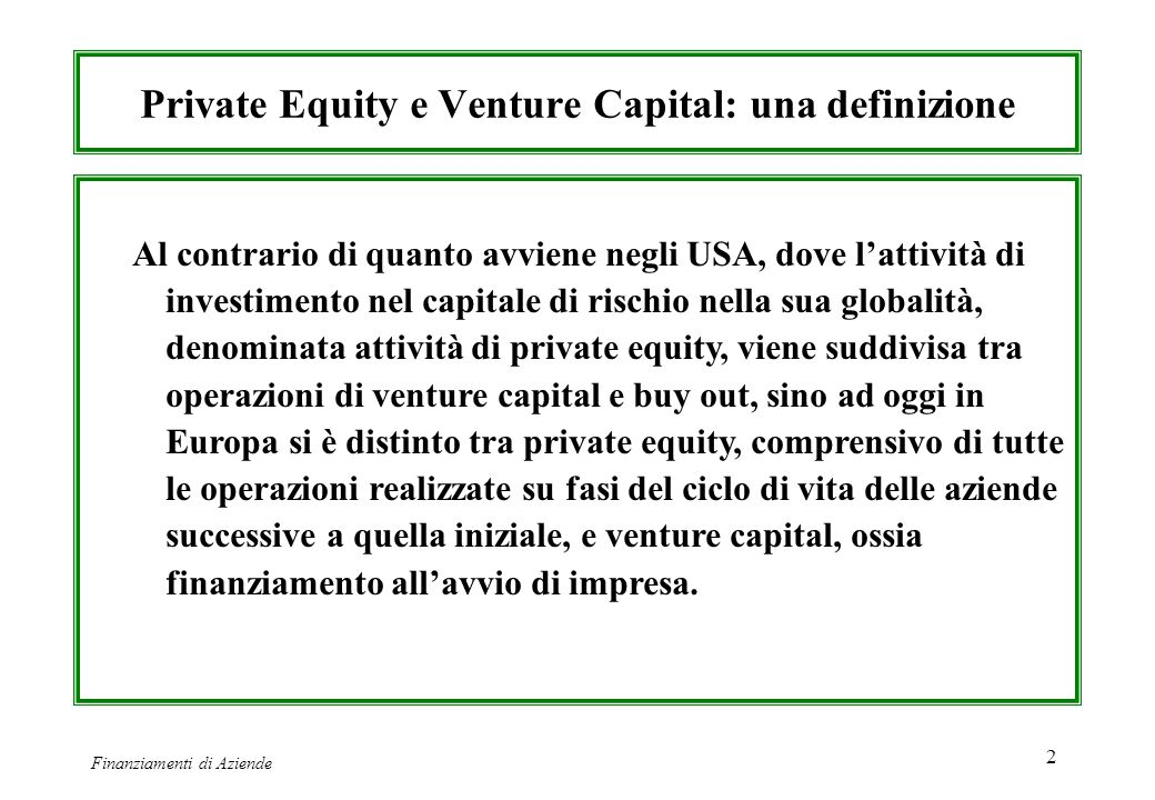 Private Equity e Venture Capital: una definizione