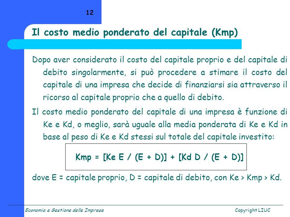 Il costo medio ponderato del capitale (Kmp)