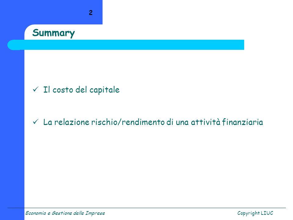 Summary Il costo del capitale