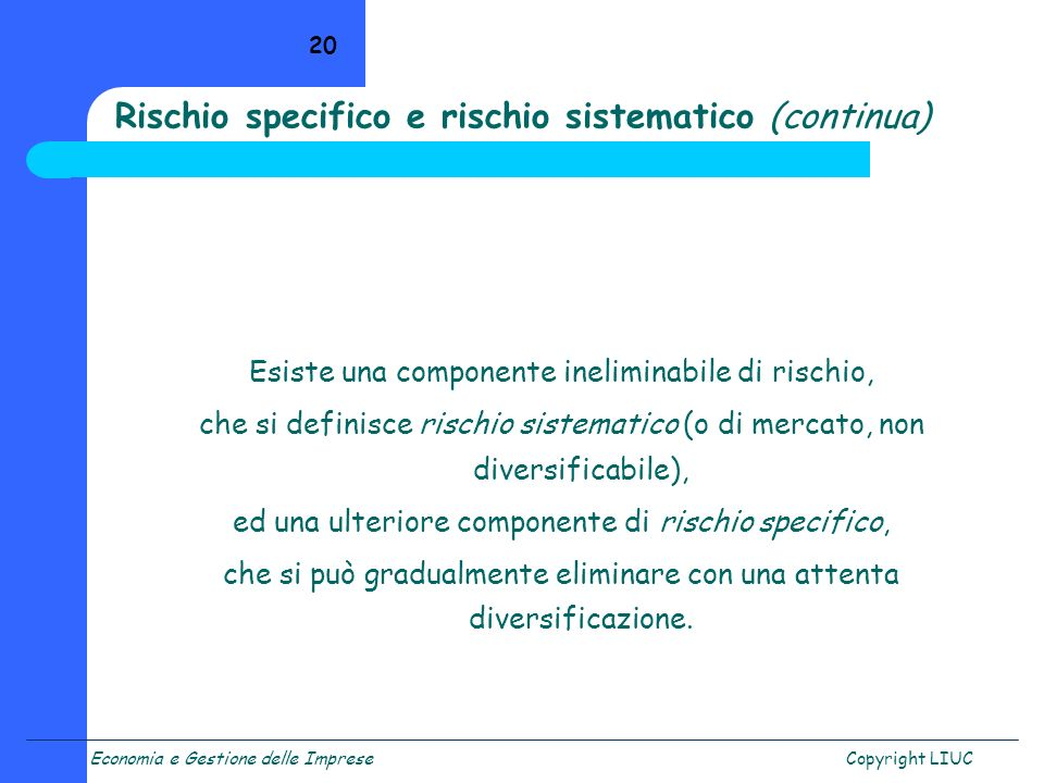Rischio specifico e rischio sistematico (continua)