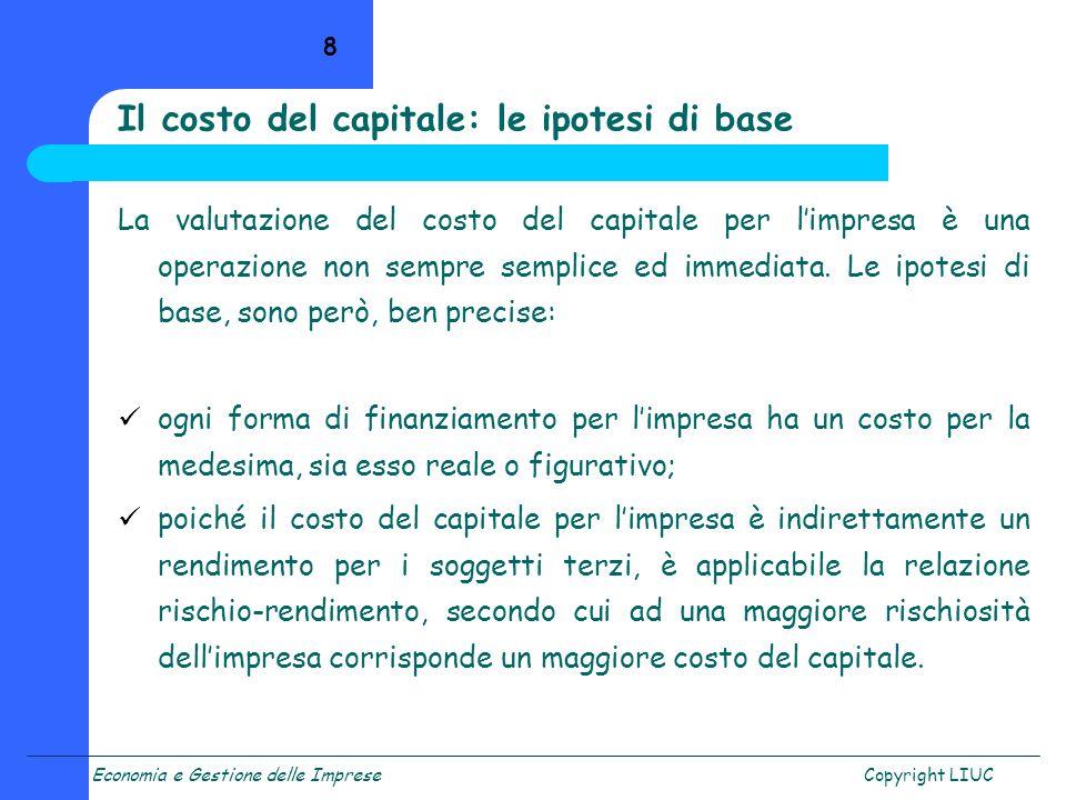Il costo del capitale: le ipotesi di base