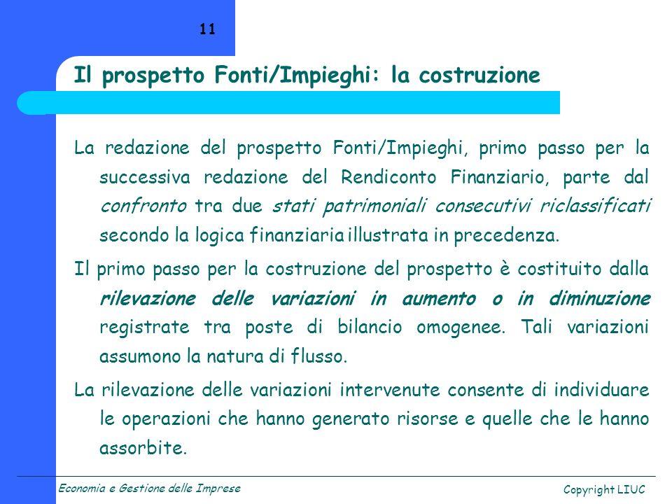 Il prospetto Fonti/Impieghi: la costruzione