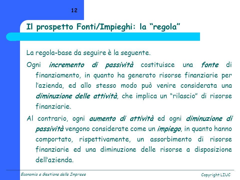 Il prospetto Fonti/Impieghi: la regola